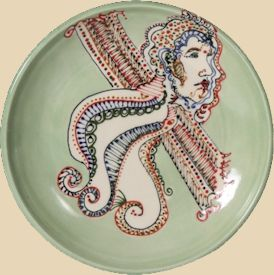 Detailed celadon platter with Mayco Designer Liners.